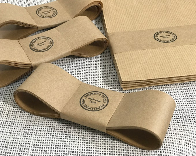 Gummed Kraft Paper Ribbon 5x10m Pack 50m Brown Paper Tape For Soap Labelling Soap Bands Product Packaging Soap Packaging Belly Band Paper
