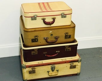 Cream and Red Vintage Suitcase Stack | Retro Luggage | Vintage Suitcases | Red and Cream Home Decor | Home and Retail Interior Design Props