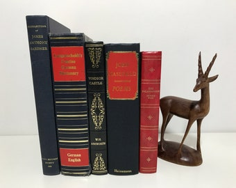 RED BLUE and GOLD Decorative Books Library Decor Vintage Book Collection Old Books Decoration Blue Red and Gold Room Decor