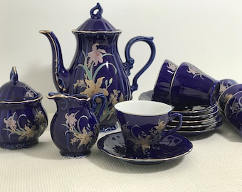 Cobalt Blue and Gold China Coffee Tea Set | Vintage Coffee Set | Turkish Coffee Set | Coffee Cups Set | Demitasse Coffee Cups and Coffee Pot