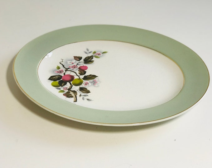 Pale Green Floral Ceramic Oval Serving Platter 30cm x 25cm BRINDLEY & CO LTD