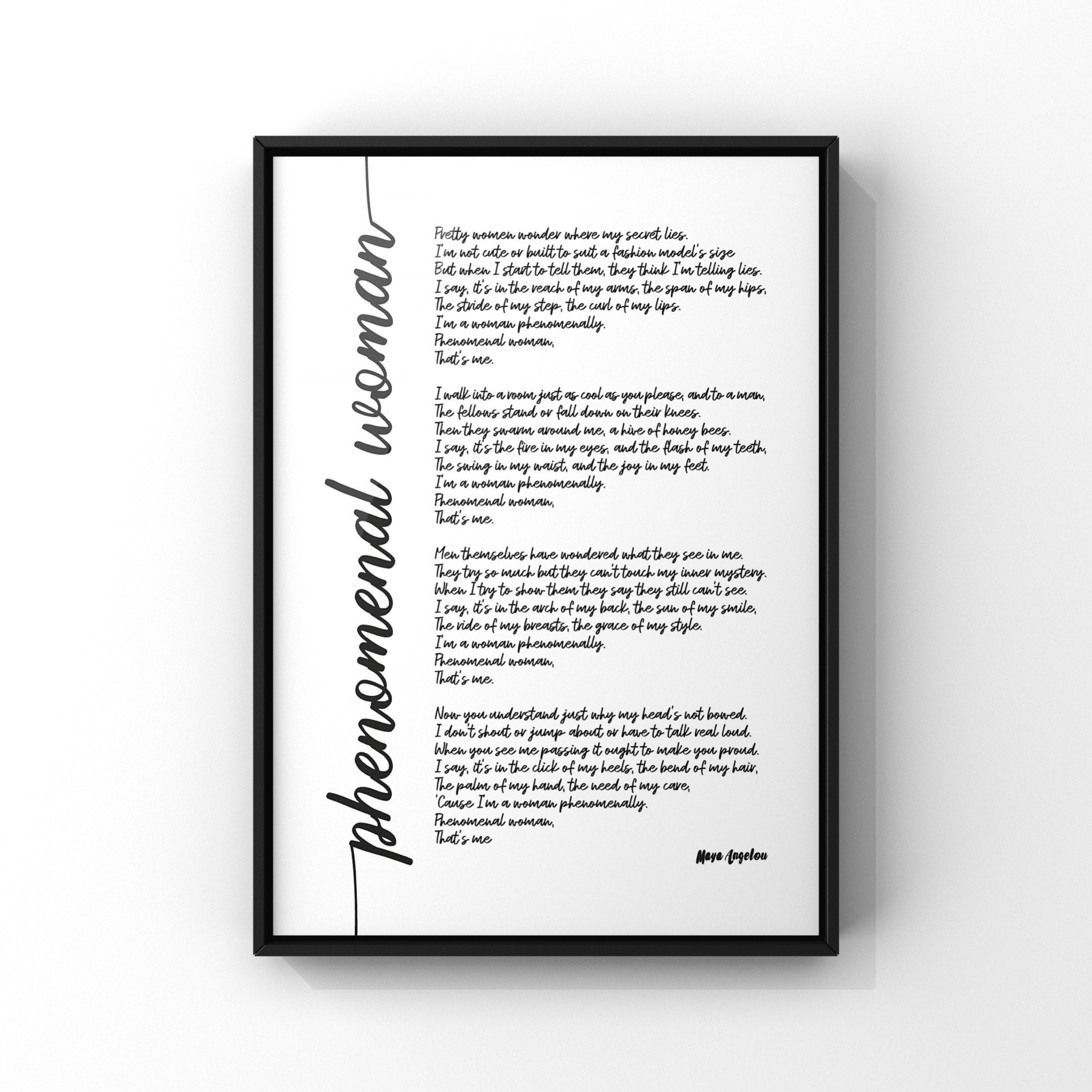 Valentines Day Gift Phenomenal Woman Wall Art Maya Angelou Gifts for her