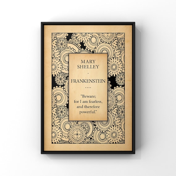 FRANKENSTEIN Book Cover Art Poster Print | Mary Shelley Classic Book Title Page Art Print | Literary Gift Idea | Literary Wall Art A4 A3