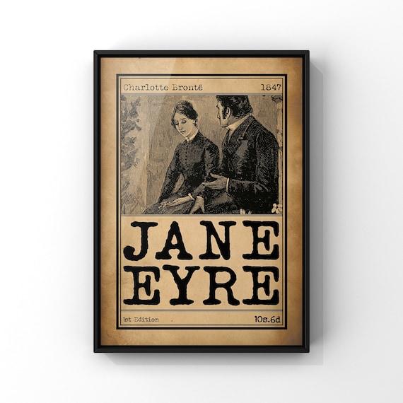 Jane Eyre Book Cover Art Illustration Poster | Charlotte Bronte Classic Novel Book Advert Print | Literary Wall Art Gift Idea | Wall Decor