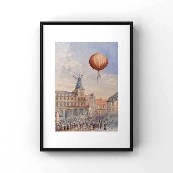 French Hot Air Balloon Art Poster by Camille Gravis | Vintage Science Travel Art Poster | Retro Ballooning Poster | A2 A3 A4 A5
