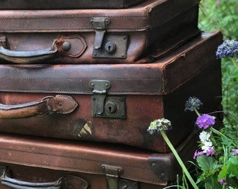 Old Leather Suitcases | Leather Luggage | Brown Suitcases | Suitcase Wedding Decor | Vintage Suitcases | Suitcase Props | Brown Luggage