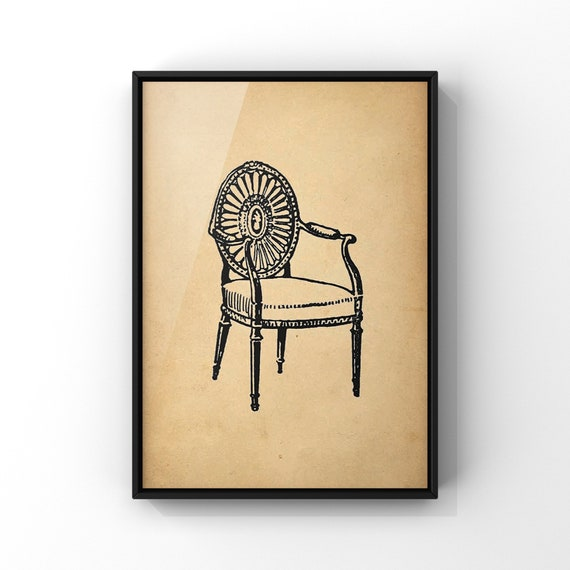 Antique Chair Poster Print #2 | Pretty Elbow Chair Wall Art | Old Vintage Carver Chair Illustration Wall Art