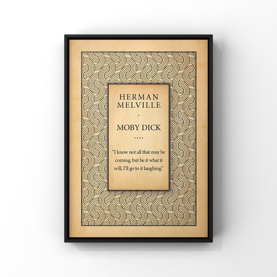 Moby Dick Book Cover Art Poster Print | I know Not All That May Be Coming Quote | Classic Novel Title Page Poster | Literary Wall Decor