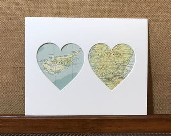 Cyprus and Scotland - Heart Mount Vintage Maps Wall Art - Two Countries Towns Cities - Vintage Atlas Pages - Custom Made To Order