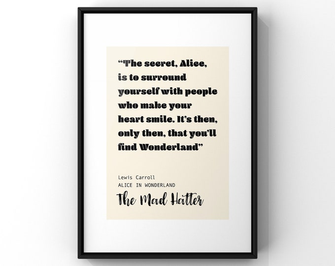 Featured listing image: The Secret Alice Quote The Mad Hatter Alice in Wonderland Lewis Carroll   Unframed Simple Contemporary Block Art Print