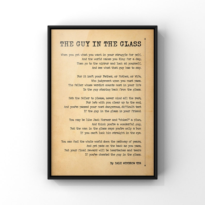The Guy In The Glass Original Version Poem Print by Dale image 0