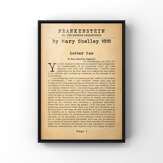 Frankenstein By Mary Shelley Novel Book Page Poster Print | Classic First Page Art Print | Literary Art Gift Idea | Library Wall Art A4 A3