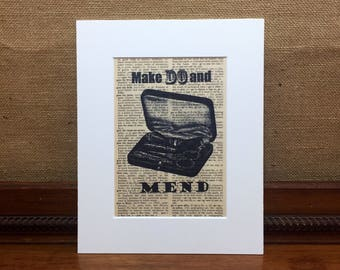 Sewing Quote Print | Sewing Room Decor Ideas | MAKE DO And MEND | Sewing Dictionary Print | Sewing Print | Sewing Gifts For Dad