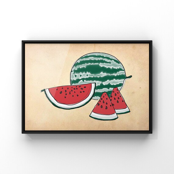 Watermelon Vintage Style Wall Art Print | Modern Red and Green Fruit Illustration Antique Paper Poster | Fruit and Veg Kitchen Art Decor