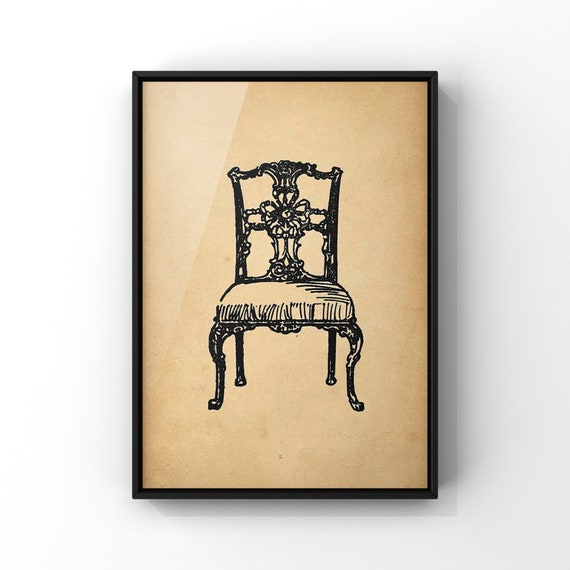 Antique Chair Poster Print #3 | Pretty Chippendale Style Chair Wall Art | Old Vintage Chair Illustration Decor