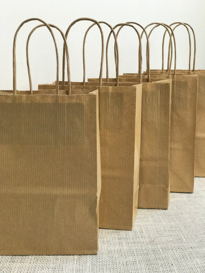 Brown Gift Bags Small Brown Bags Twisted Handle Bags 5 Craft Bags Kraft Gift Bags Brown Raffia Bags Kraft Bags 200mm x 140mm