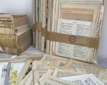 Decoupage Craft Papers | Vintage Book Pages | Dictionary Pages | Old Book Pages | Vintage Paper Pack | Book Pages | Sheet Music