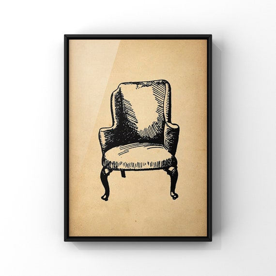 Antique Chair Poster Print #4 | Wingback Arm Chair Wall Art | Old Vintage Chair Illustration Wall Art
