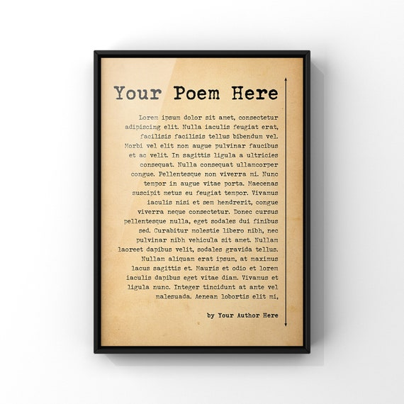Custom Poem Poster Print | Your Poem Here | Your choice of Poem on Antique Style Paper | Custom Art Poetry A3 A4 8x10