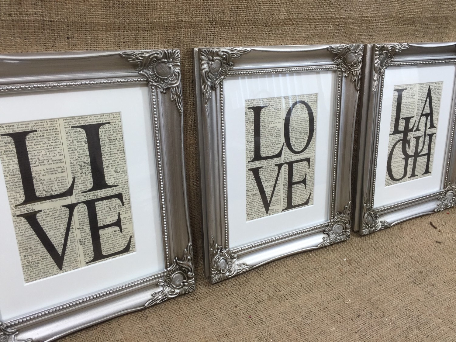 LIVE LOVE LAUGH Framed Dictionary Prints Framed Inspirational - Inspirational words for new home
