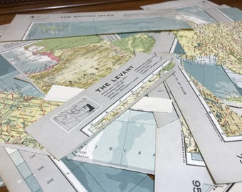 Map Book Pages | Off Cuts | Decoupage Papers | Craft Papers | Atlas Pages | Scrap Paper | Old Map Paper | Scrapbooking | Scrapbook Paper