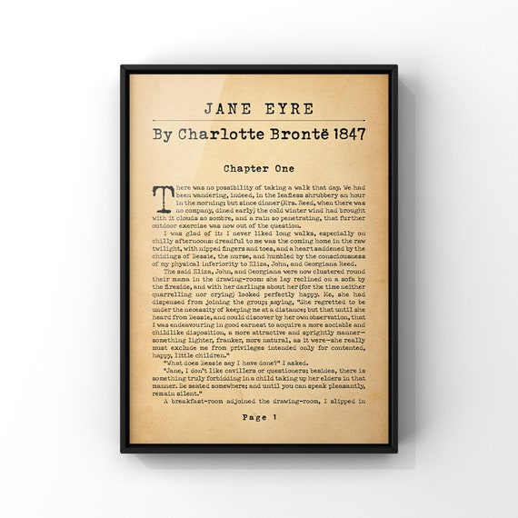 Jane Eyre By Charlotte Bronte Novel Book Page Poster Print | Recreated Sample First Page | Antique Style Literary Art Gift A4 or A3