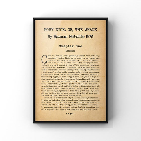 Moby Dick By Herman Melville Novel Book Page Poster Print | Classic First Page Art Print | Literary Art Gift Idea | Wall Art Decor