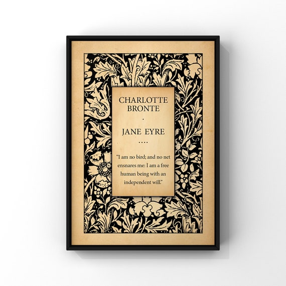 Jane Eyre Book Cover Art Poster Print | Charlotte Bronte Book Title Page Art Print | Classic Literary Wall Decor A4 A3