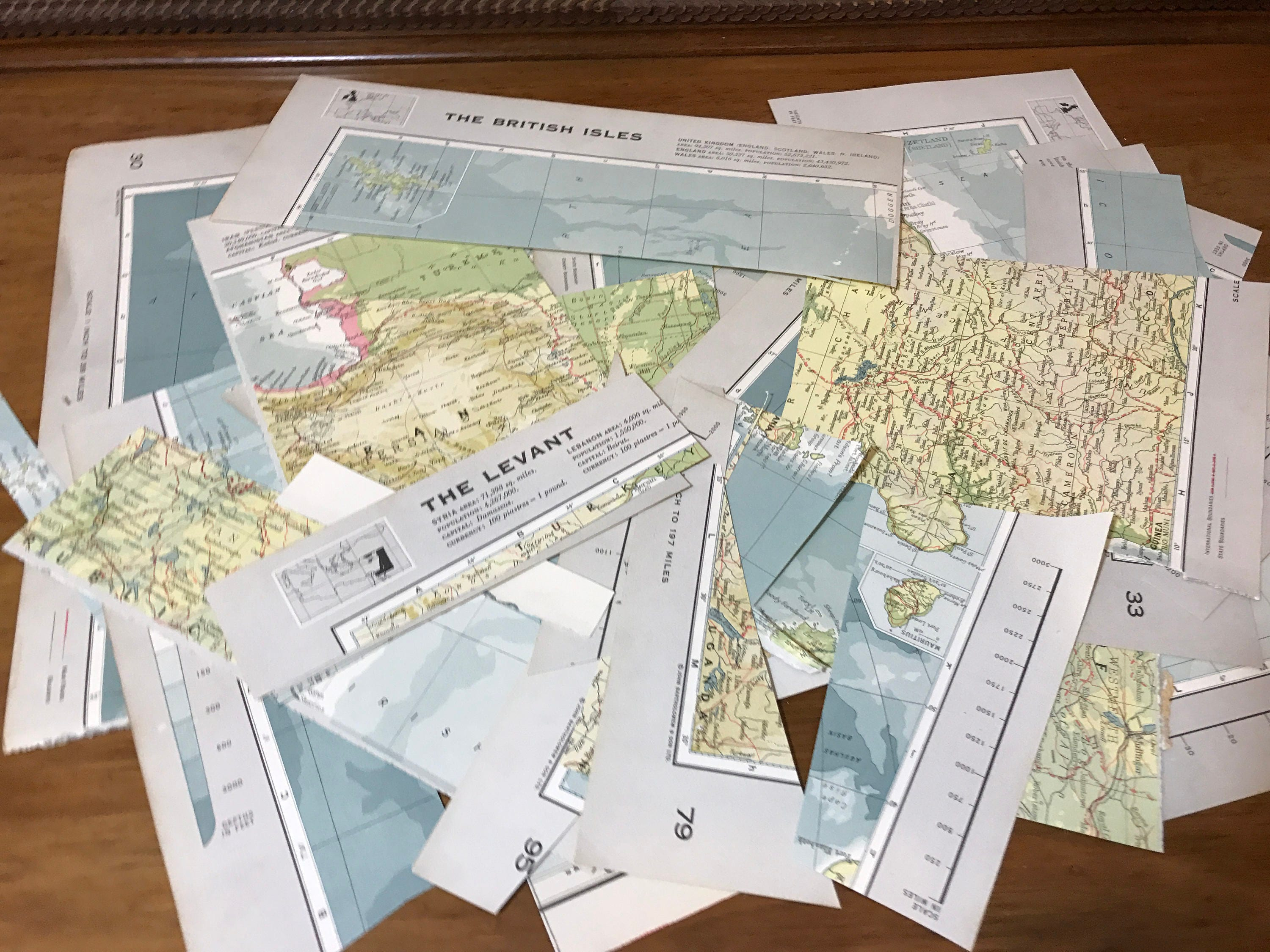 Map Book Pages | Off Cuts | Decoupage Papers | Craft Papers | Atlas ...