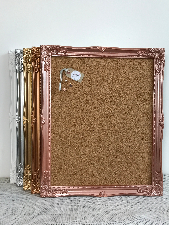FRAMED CORK BOARD In White Gold Silver Rose Gold Copper Framed Pin Board  Push Pin Board Ornate Vision Board Notice Board Home Office Decor