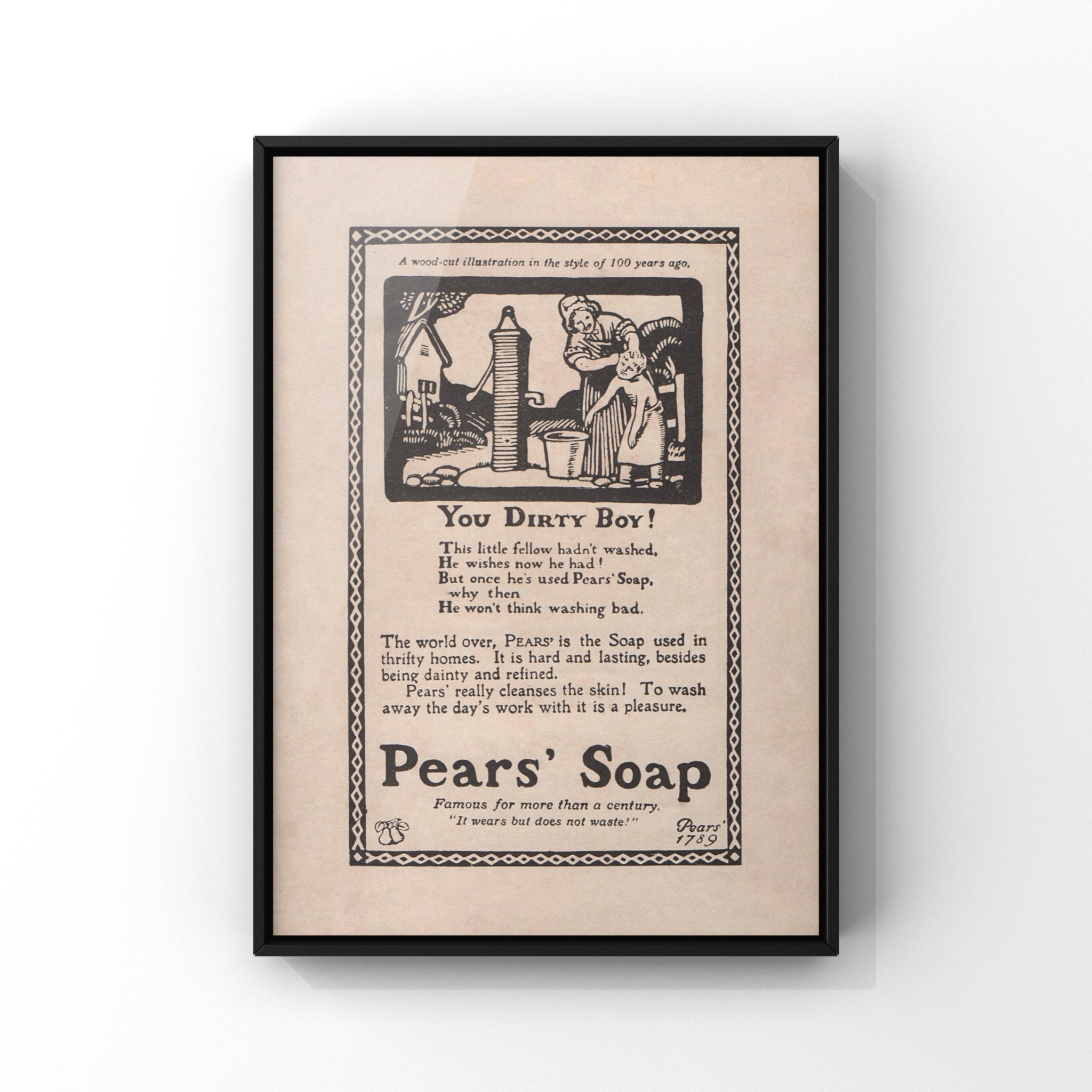 Pears Soap Advert You Dirty Boy Wall Art Print Woodcut Illustration Antique Bookplate Art A5 A4 8x10 Funny Bathroom Wall Decor