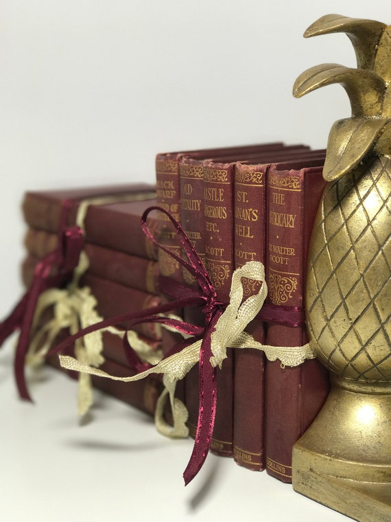 Small Decorative Books Burgundy Red Books Marsala Maroon And Etsy