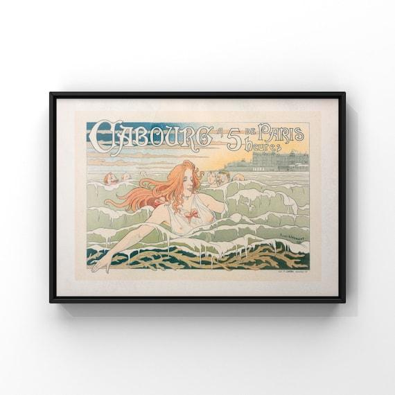 French Art Nouveau Advertising Poster for Carbourg Hotel by Henri Privet-Livemont 1896   Landscape Maitre De L'Affiche Wall Art Decor