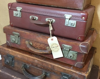 Luggage For Men | Vintage Brown Suitcases - Tan Vintage Luggage - Suitcase Stack Storage - Vintage Leather Cases -  Interior Design Props