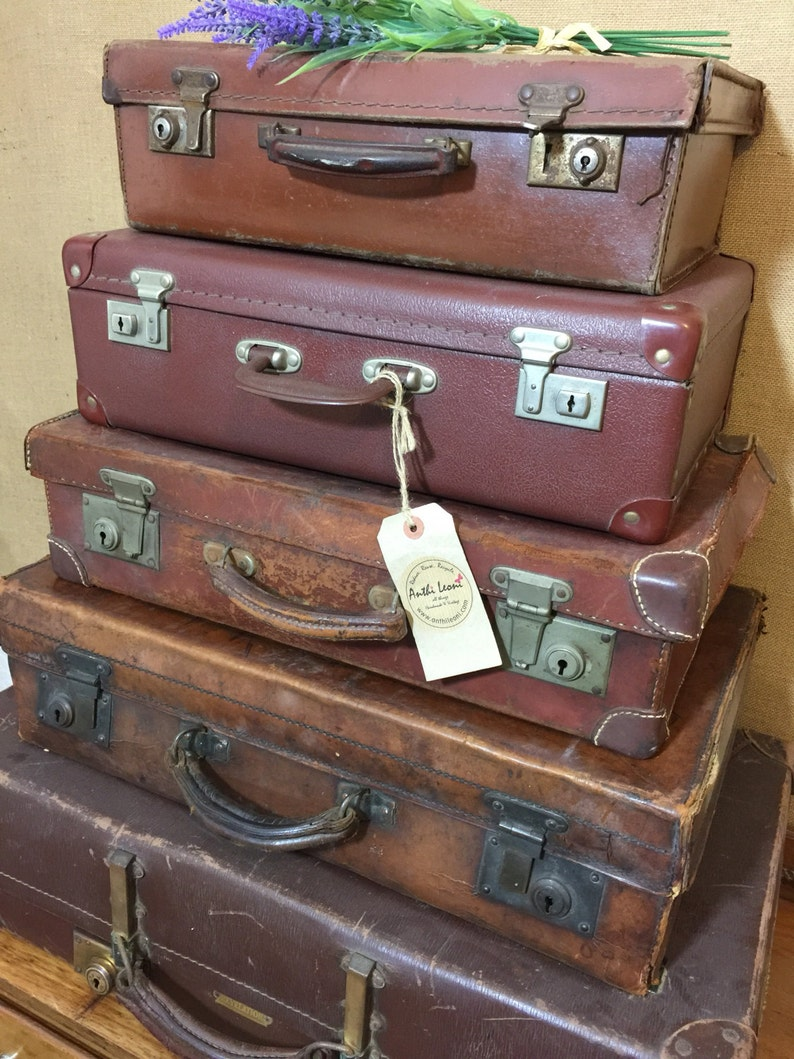 59fed8ee64 Vintage Brown Suitcases Antique Luggage For Men Vintage | Etsy