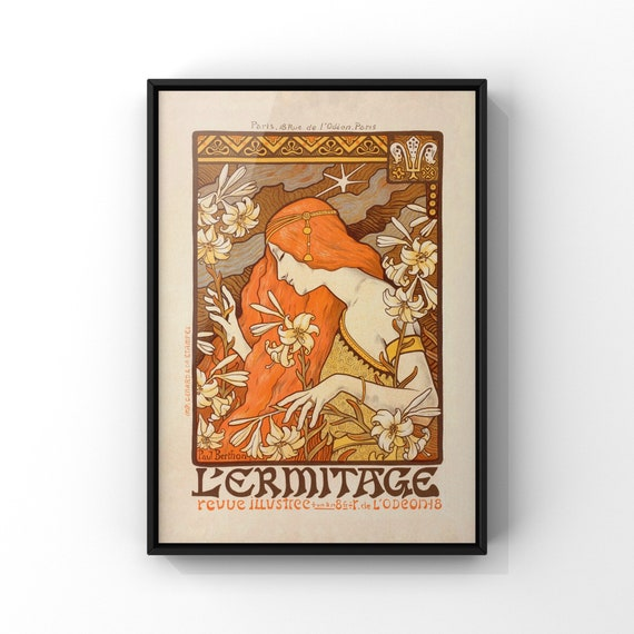 French Advertising Poster Print for L'Ermitage Magazine by Paul Berthon   Art Nouveau Wall Art   Antique La Belle Époque Style Wall Decor