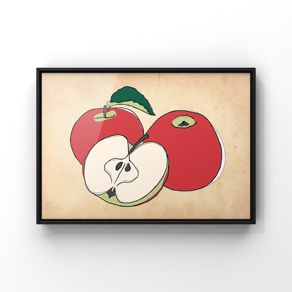 Apples Vintage Style Wall Art Print | Modern Red and Green Fruit Illustration Antique Paper Poster | Fruit and Veg Kitchen Art Decor