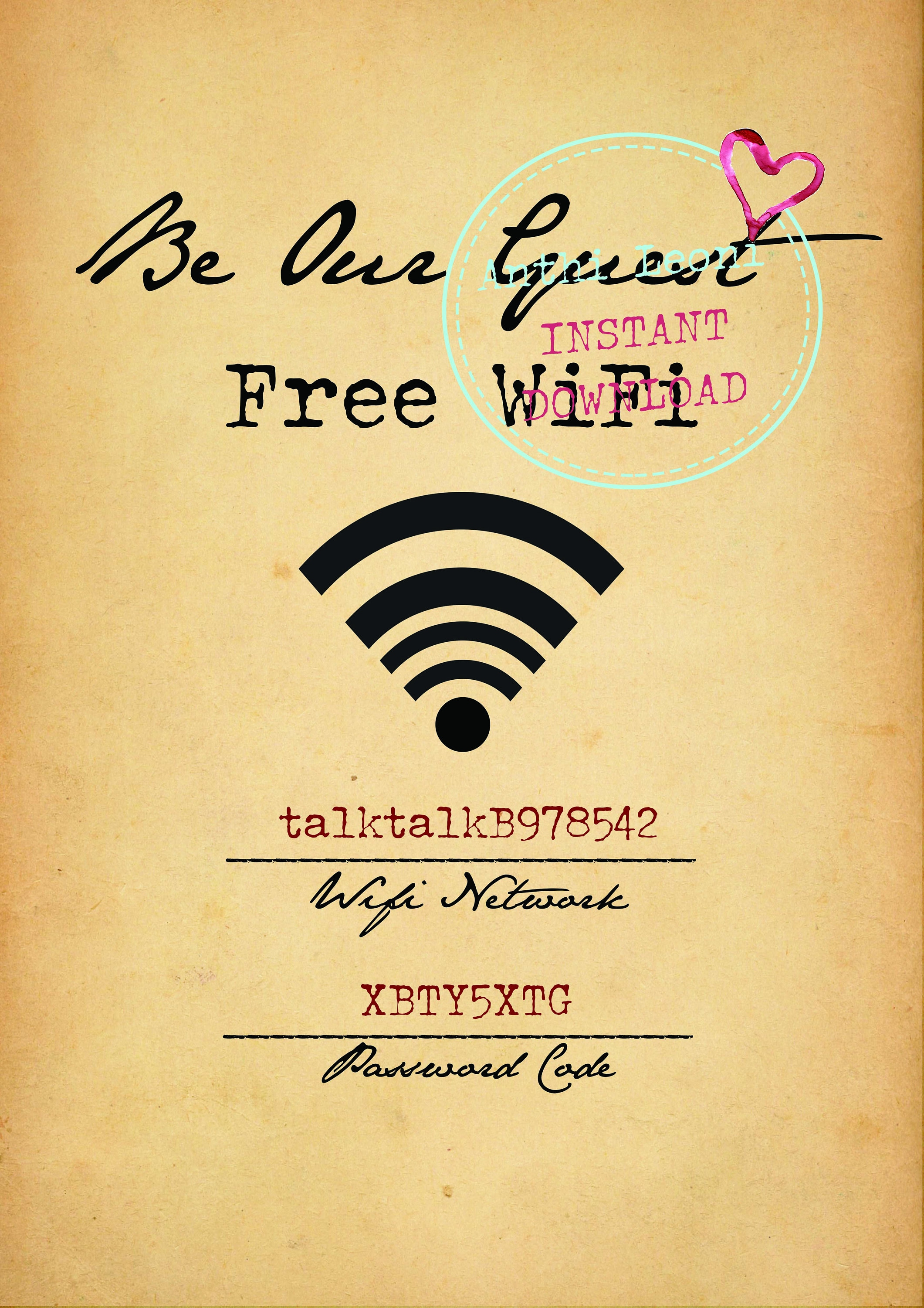 picture about Printable Wifi Sign titled Wifi Pword Printable Be Our Visitor Totally free Wifi Printable