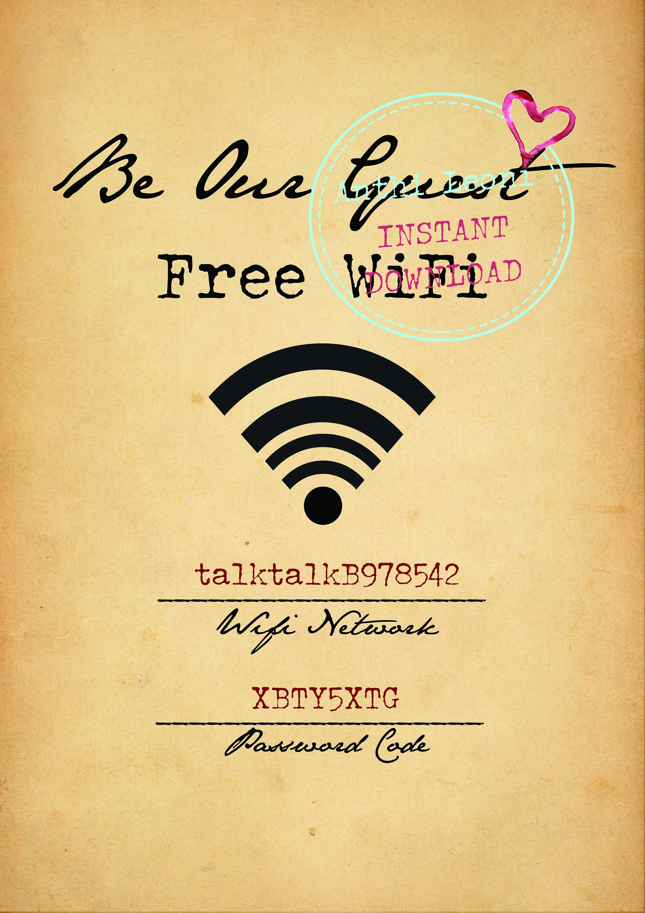 photo about Wifi Password Sign Printable called Wifi Pword Printable Be Our Visitor Absolutely free Wifi Printable