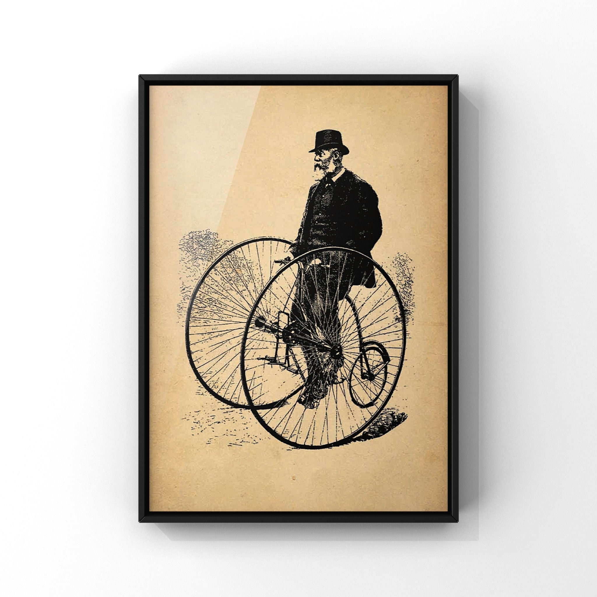 Antique Vintage Tricycle Print Man In Bowler Hat On Antique Tricycle Steampunk Wall Art Old Style Cycling Paper Print