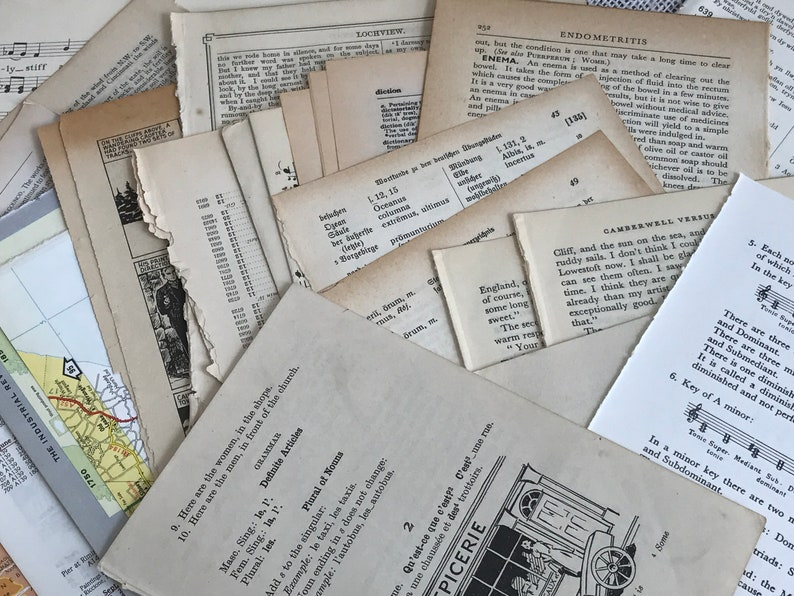 Old Dictionary Pages Vintage Paper Pack Vintage Book Pages Paper Crafters Gift Idea Vintage Scrapbooking Paper Old Book Pages