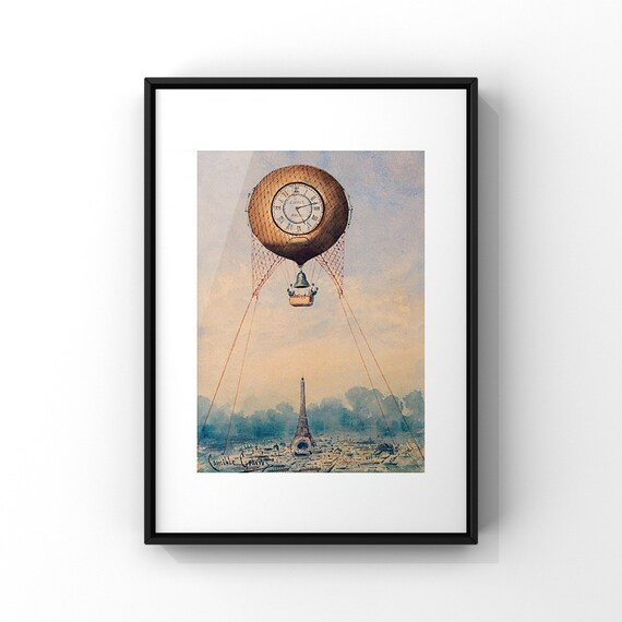 French Hot Air Balloon Art Poster | Antique Balloonist Art Print | Vintage Science Travel Art Poster | Retro Ballooning Poster | A2 A3 A4 A5