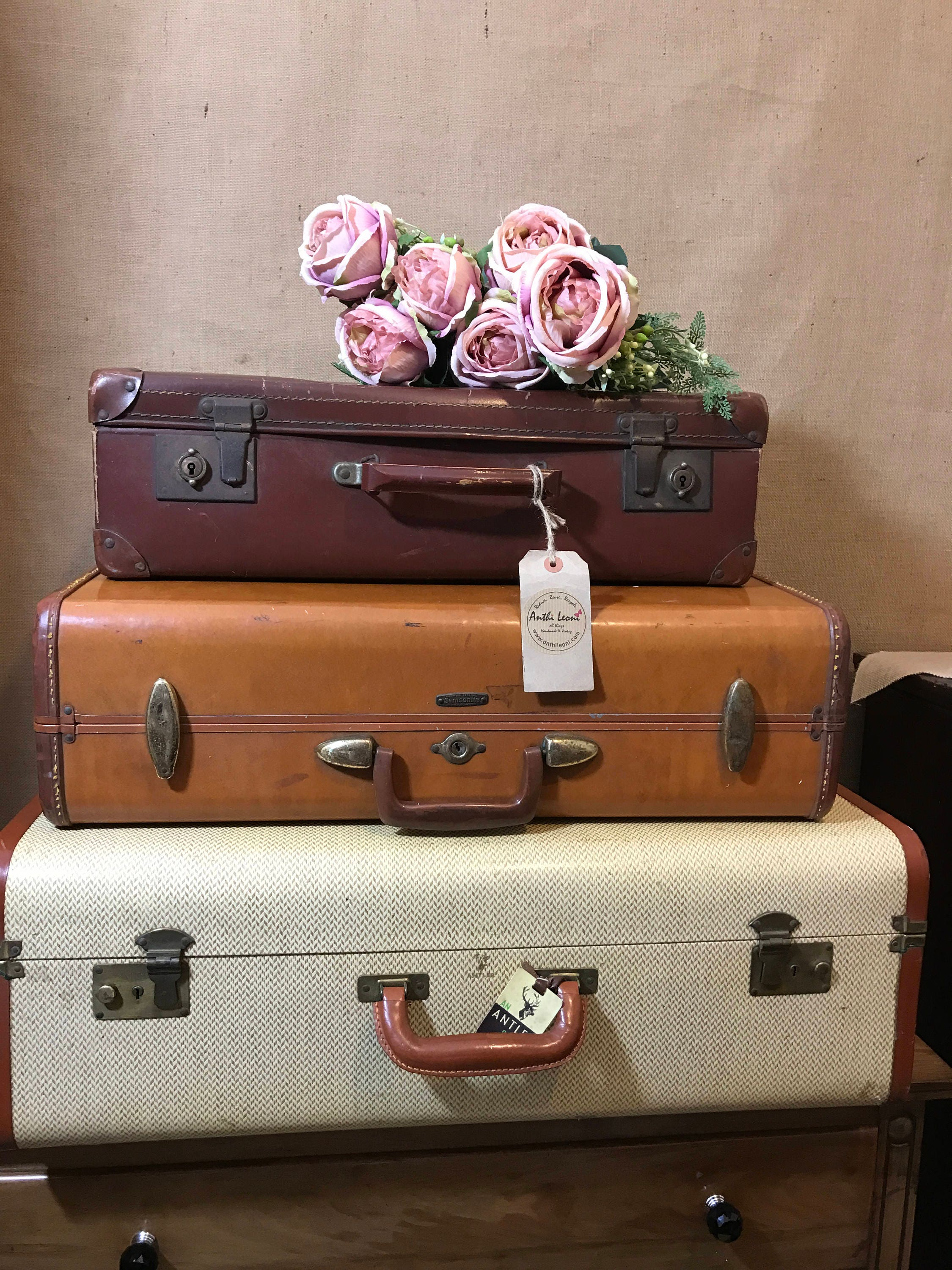 Vintage Designer Stacking Suitcases Vintage Home Decor