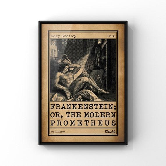 Frankenstein or The Modern Prometheus Book Cover Art Illustration Poster | Classic Novel Book Advert Print | Literary Wall Art Gift Idea