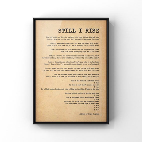 Still I Rise Poem by Maya Angelou Poster Print | Inspirational Poetry | Minimalist Antique Style Vintage Paper Wall Art Print