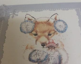 Fox & Baby Christmas Card