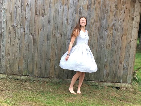 pockets to White Dress Stripe style dress with Marine Marine stripe ship Sundress dress Ready Linen blue dress and dw7Idq