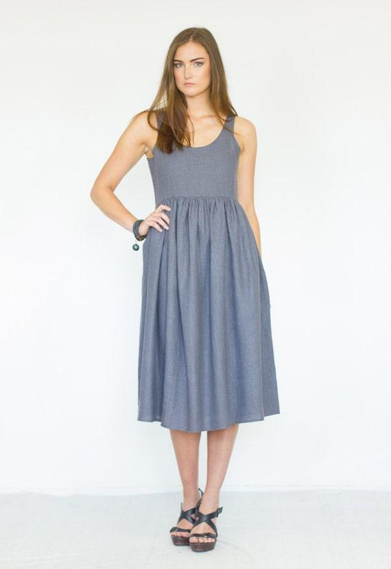 dress Ready linen linen Linen to linen clothing Midi dress ship Gray dress Zqx6qIHFw
