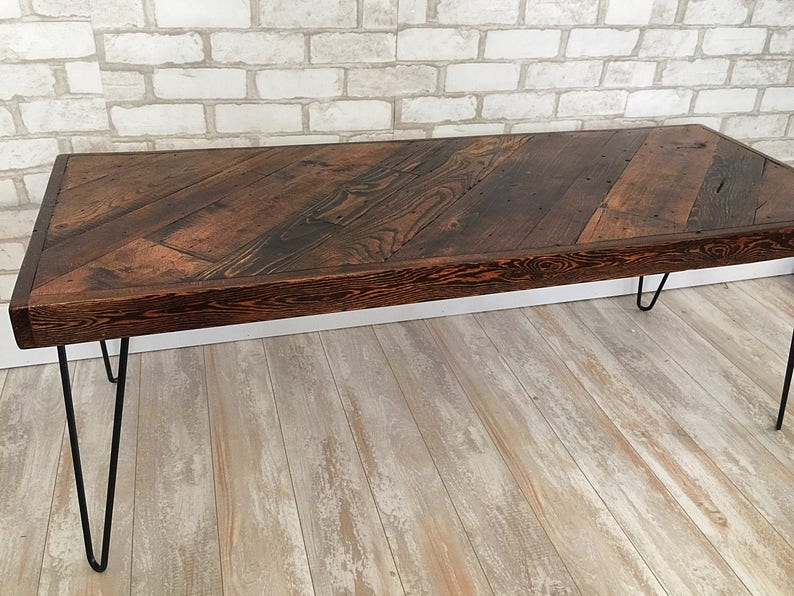 Honey Diagonal Coffee Table Mid Century Modern Rustic Etsy