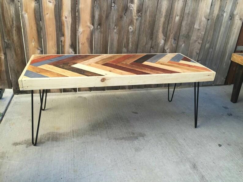 Colorful Herringbone Coffee Table Reclaimed Wood Mid Etsy